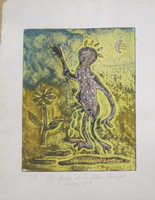"Carvajal #6008. ""El guije de la flor,"" N.D. Collagraph print edition 2 of 6.  10 x 8.25 inches."