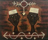"24 Alazo - Alejandro Lazo, ""Crispín y Crispian, espíritus,"" 2004. Oil on canvas 21.25"" x 25"" #4331"