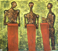 "26b Alazo (Alejandro Lazo), ""Macuteros viejos,"" 2005. Oil on canvas 25.5"" x 32.5""  #4336"