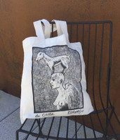 "Canvas bag with Rafael Càceres imprint #058C. Dimensions 15"" x 14.5"" with slim gusset. 25"" from top of strap to bottom of bag."