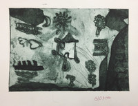 J.P. #523B. Untitled, N.D. Collagraph print from down syndrome art project in Pinar del Rio, Cuba. 9 x 11 inches.