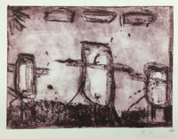 F.P. #523C. Untitled, N.D. Collagraph print from down syndrome art project in Pinar del Rio, Cuba. 9 x 11 inches.