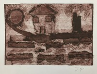 #523D. Collagraph print from down syndrome art project in Pinar del Rio, Cuba. 9 x 11 inches.