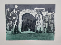 "Bernardo Navarro Tomas #6861. ""Nighttime,"" 2018. Drypoint on Deponte paper 350 gr Edition of 30  Plate size : 17.71 x 23.7 inches. Paper: 22.45 x 27.75 inches."