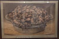 "Roberto Fabelo, Naturaleza casi viva a casi muerta, 2000. Crayon on kraft paper. 40"" x  65"" #6200 framed"
