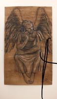 "Jorge César Saenz, Untitled, 2018. Charcoal on kraft paper. 47"" x 29"" unframed"