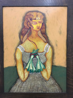 """Elsa Mora, Retrato de Teresa, 1997. Oil on canvas. 23.5"""" x 17.5"""""""