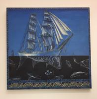 "Jaqueline Brito, Agua, from the series Cuatro elementos, 2001. Oil on canvas. 29.5"" x 30.5"""