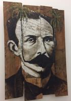 """Jorge César Saenz, Untitled (José Martí), 2015. Mixed media on wood. 33.5"""" x 22"""""""