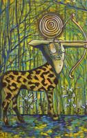 "JBJ (Jacqueline Brito) ""Ochosi"" serie Orishas, 2014. Acrylic on canvas. 10"" x 6.5"""
