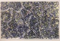 Leandro Soto:  Los caminos se cruzan como un tejido. Watercolor on Paper. 64 x 45 inches. 2000.