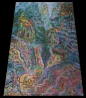 Leandro Soto: Una visión de Machuppichu. Acrylic on Canvas. 71 x 63 inches. 1997.