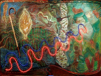 Leandro Soto:  Asclepius, Babalú y el ADN como una serpiente sabia. Mixed Media and Objects on Canvas. 59 x 89 inches. 2001.
