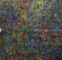 Leandro Soto: Samsara: Ciudad de México. Acrylic on Canvas. 57 x 57 inches. 1988.