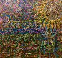 Leandro Soto: La universidad de Arizona en la visión de los Tohono O´odham. Acrylic on Canvas. 53 x 58 inches. 2007.