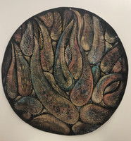 Leandro Soto: Desert Plants. Acrylic on Canvas. Diameter:  45 inches. 2005.