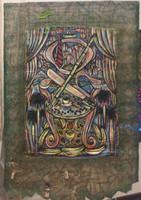 Leandro Soto: El Trono. Acrylic on Canvas and Burlap, 62 x 40 inches. 2016.