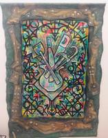 Leandro Soto: Instrumentos de poder. Acrylic on Canvas and Burlap, 53 x 40 inches. 2018.