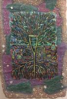 Leandro Soto: El gobelino de Babalú Ayé. Mixed Media on Canvas and Burlap. 56 x 38 inches.