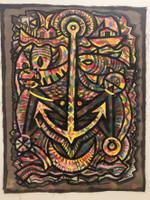 Leandro Soto: El ancla.  Mixed Media on Canvas.  53  x  39 inches.