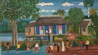 """Rafael Cala, """"La casa de tino,"""" N.D. Oil on canvas. 19"""" x 33"""" #5319"""