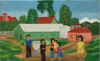 "Jorge Feria Vargas, #5385 ""Reunión familiar,"" 2010. Oil on canvas. 14.5"" x 23.5"""