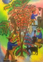 """Osvaldo Castillo, La historia del café, 2008. Oil on canvas. 24"""" x 17"""""""