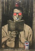 "Luis Alberto Pérez Copperi, Orador en Rojo, N.D. Printers ink on kraft paper. 27.5"" x 19.75"" #4413"
