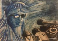 "Luis Alberto Pérez Copperi, Untitled, 2017. Mixed media on kraft paper. 12"" x 16"""