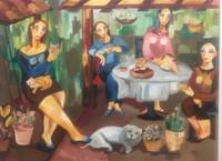 "Sandra Dooley, Hora de merienda, 2005. Oil on canvas. 41"" x 45"" #3758"
