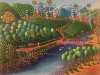 "Magnolia Betancourt, Camino al cañaveral, 2017. Acrylic on canvas. 19.5"" x 25.5"""