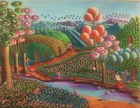 "Magnolia Betancourt, Luz a la vida, 2018. Acrylic on canvas. 19.5"" x 25.5"""