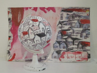 "Juan Karlos Echeverria Franco, ""verso no tan sencillos,"" N.D. Tryptych. Mixed media, collage, ink on paper and globe, 8"" x 12"""