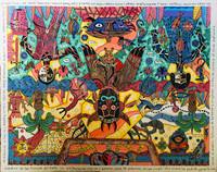 "69 Vilva (Elio Vilva-Trujillo) ""Orishas menores: Jimaguas."" 2011. Mixed media on canvas. 18""x24"""