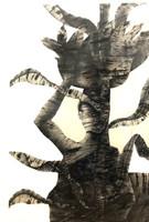 "35 Choco (Eduardo Roca), Untitled, c. 1980. Ink on card stock. 40"" x 27"""