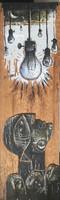 "31 Carlos César Román, Untitled, c2019. Mixed media on wood. 24"" x 7.5"""
