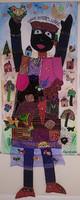 """19 Alejandrina Cué, """"Mujer que sueña,"""" 2020. Textile tapestry, collage & acrylic. 68.5"""" x 27.5"""""""