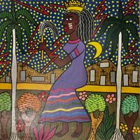 """73 Zúñiga (Lawrence Zúñiga), """"Oyá,"""" 1997. Acrylic on paper. 12"""" x 12"""". #2685"""