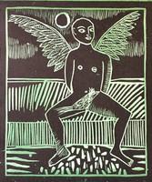 """56 Montebravo, """"Alado,"""" 2009. Screen print, 5/40, on pale green paper. 11.75"""" x 9.25"""""""
