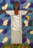 """73a Zúñiga (Lawrence Zúñiga), """"El cristo redentor de Río de Janeiro,"""" 2010. Acrylic on paper. 23"""" x 16.5"""""""