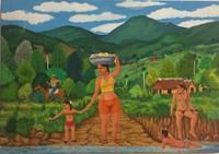 """006 Alvarado, """"Llegando al río,"""" N.D. Oil on canvas. [Collection of Ron Chilcote]"""