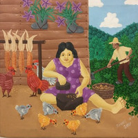 "018 Daniel Alvarez Arias, ""Pilando maiz,"" 2017. Oil on canvas. 12"" x 12"""
