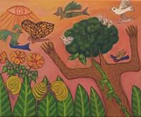 """025 Julio Heriberto Prieto, """"Fantaciendo con mi entorno,"""" ND. Acrylic on canvas. 20""""x 24"""" #5424 [Collection of Ron Chilcote]"""