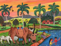 """027 Osvaldo Castillo, """"La vaca lechera,"""" 2008. Oil on canvas. 11""""x 14"""" #4591"""