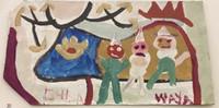 "030 Wayacón (Julian Espinosa), Untitled, ND. Tempera on paper bag. 8.5"" x 11""  Waya painted 100 paper bags for us. #2305-2"