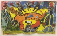 "033 Wayacón, Untitled, ND. Oil on fabric. 27""x 45"""
