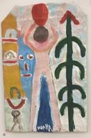 "036 Wayacón, Untitled, ND. Tempera on paper bag. 8.5"" x 11"" #2523-35"