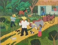 """045 Odias Palacio, """"Los ejes,"""" N.D. Oil on canvas. 19"""" x23.5"""" #5320"""