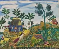 """053 Villalón, """"Loma arriba,"""" 2008. Oil on canvas. 13.75""""x 16.75"""" #4310"""