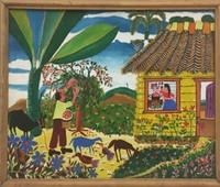"054 Villalón, ""Recogiendo cereza,"" 2005. Oil on canvas. 10.5""x 12.5"" #3895"